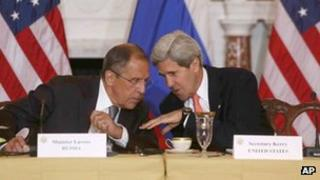 Russian Foreign Minister Sergei Lavrov and his US counterpart John Kerry