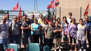 Former employees protest outside Firem, near Modena, northern Italy