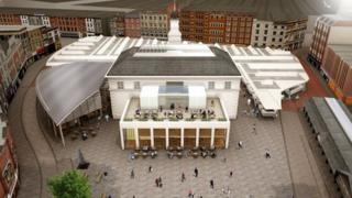 Aerial view of new Leicester market development