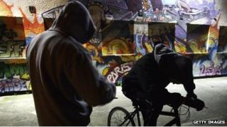 Young people wearing hoodies to illustrate anti-social behaviour
