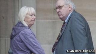 Moira and Christopher Pope outside Dundee Sheriff Court