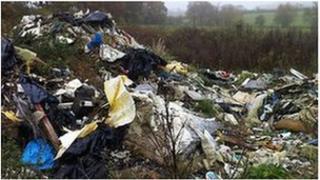 rubbish piles at Margaretting