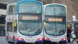 Two buses on The Centre, Bristol