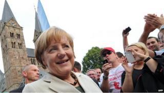 German Chancellor Angela Merkel campaigning, 29 Aug 13