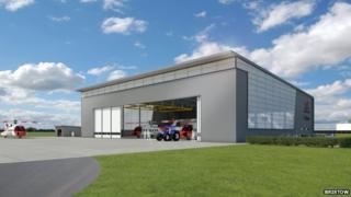 Computer generated image of hangar