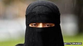 Woman wearing a niqab veil
