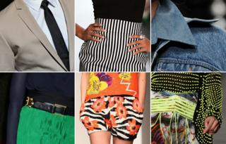 Details from clothing: a man's tie, vertical stripes, denim, clashing patterns, green and blue clothing