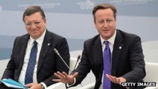 Jose Manuel Barroso and David Cameron at the G8 summit in St Petersburg