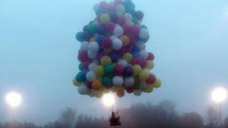 Jonathan Trappe in his helium balloon ship