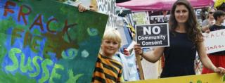 Anti-fracking protesters in Balcombe