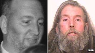 Peter Scott wanted poster (left) the 58-year-old's mug shot (right)