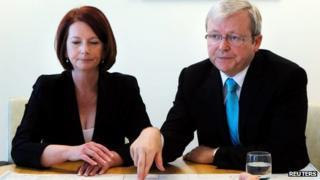 Julia Gillard and Kevin Rudd (24 June 2013)