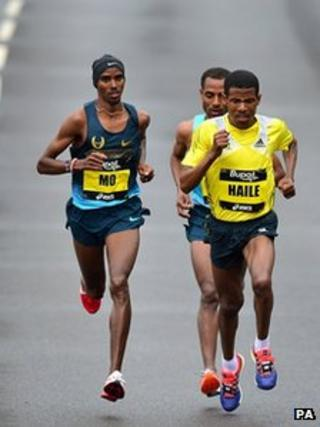 Mo Farah in the Great North Run