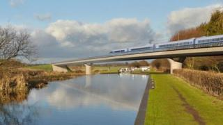 Image of the Birmingham and Fazeley viaduct, part of the proposed route for the HS2 high speed rail scheme