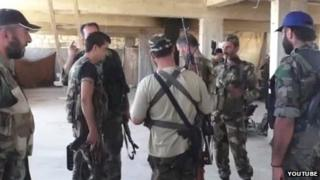 Still from footage purporting to show Iranian fighters in Syria