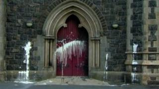 Paint on church