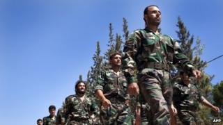 Syrian rebels north of Aleppo