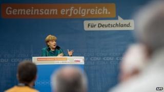 Angela Merkel gives a campaign speech