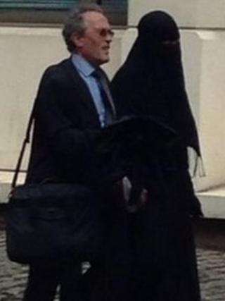 Woman arrives at Blackfriars Crown Court