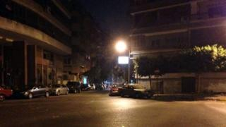 Deserted street at night-time in Cairo