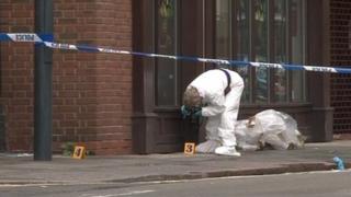 Cordoned scene in Curzon Street, Derby