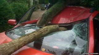 Wreckage of VW Passat at Wolterton