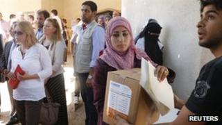 Justine Greening visiting a humanitarian centre in Lebanon