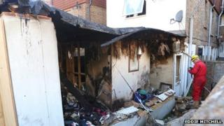 Destroyed outbuilding at Littlehampton house