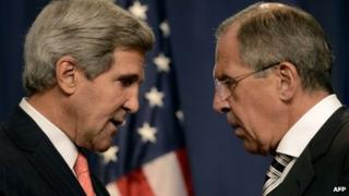 US Secretary of State John Kerry and Sergei Lavrov in Geneva (14 September 2013)