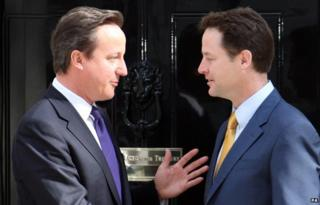 David Cameron and Nick Clegg outside No. 10