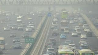 A traffic jam in Beijing