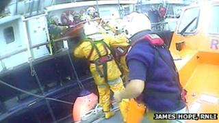 Patient being transferred on a stretcher