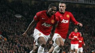 Antonio Valencia celebrates scoring at Old Trafford