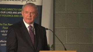 Martin McGuinness delivering peace lecture in Warrington