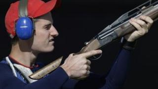 Peter Wilson shoots during qualifiers for the men's double trap event in London 2012