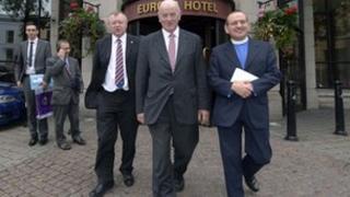 Orange Order delegation leaving the talks