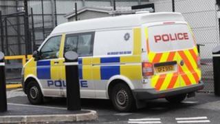 Police van arrives at court