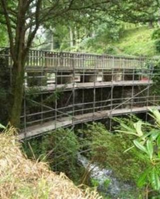 The waterfall bridge at Bodnant