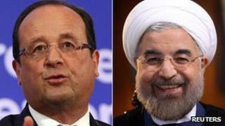 Francois Hollande and Hassan Rouhani
