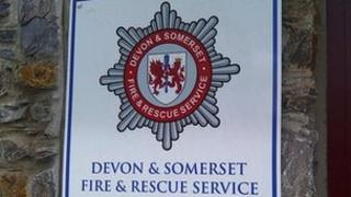 Devon and Somerset Fire Service sign