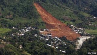 Aerial view of La Pintada landslide
