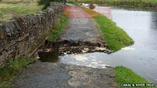 The damaged Leeds and Liverpool Canal towpath