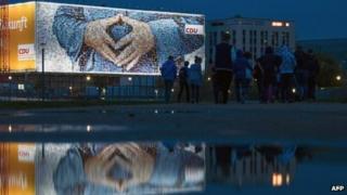 CDU advert showing Angela Merkel's hands