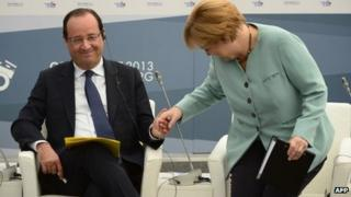 Francois Hollande and Angela Merkel