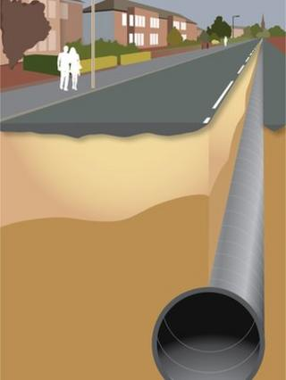 Artist's impression of new waste water tunnel