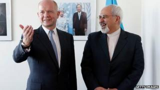 William Hague with Mohammad Javad Zarif at the UN on 23 September 2013