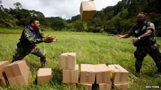 Soldiers unload disaster relief in Guerrero state