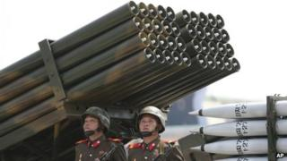 File photo: North Korean soldiers parade with missiles and rockets during a mass military parade in Pyongyang, North Korea, 27 July 2013