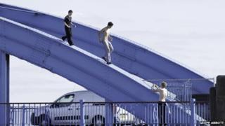 Teenagers on the Foryd Bridge