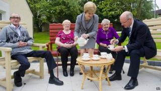 Ministers have tea with pensioners